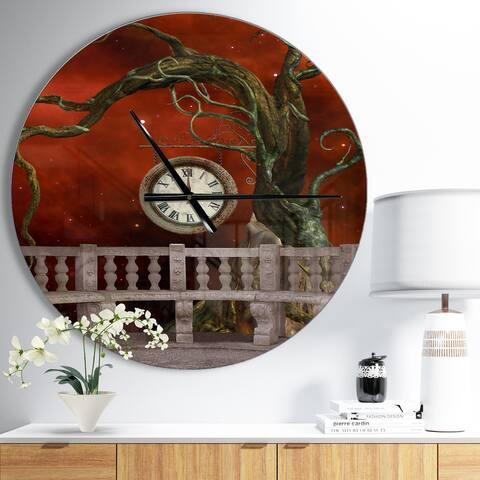 Designart 'Balcony with Clock and Tree Angels' Oversized Bohemian Wall CLock