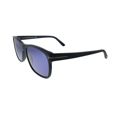 Tom Ford Giulio TF 698 02V Unisex Matte Black Frame Blue Lens Sunglasses