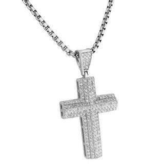 Sterling Silver Cross Pendant Necklace Combo Lab Diamonds Hip Hop Bling