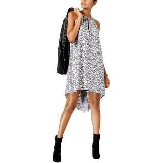 MICHAEL Michael Kors Womens Petites Party Dress Metallic Leopard Print