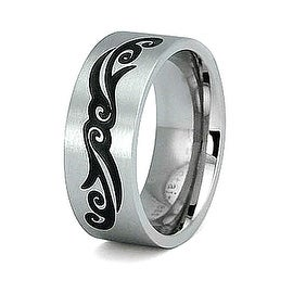 Ladies Stainless Steel Tribal Engrave Ring