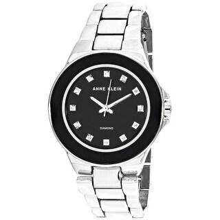 Anne Klein Women's AK-2755BKSV Silver Stainless-Steel Quartz Fashion Watch