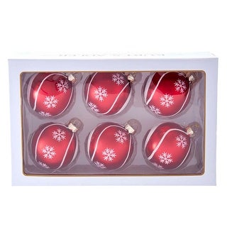 Link to Kurt Adler 80MM Red with Snowflake Swirls Glass Ball Ornaments, 6-Piece Set Similar Items in Christmas Decorations