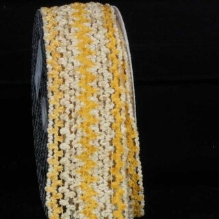 """Yellow and Beige Chevron Striped Chenille Wired Craft Ribbon 2.5"""" x 20 Yards"""