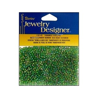 Darice JD Seed Bead 10/0 Transparent Green AB