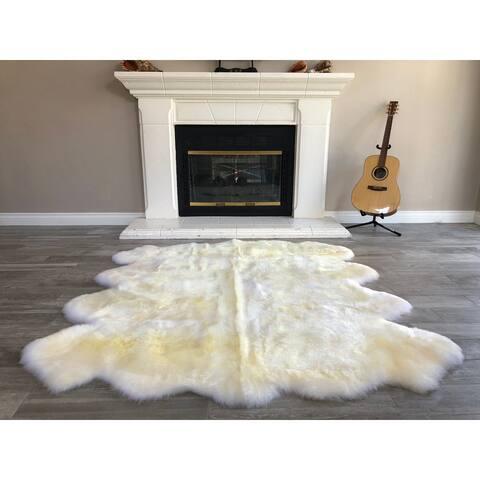 "Dynasty Natural 8-Pelt Luxury Long Wool Sheepskin Light Beige Shag Rug - 5'5"" x 6'8"""