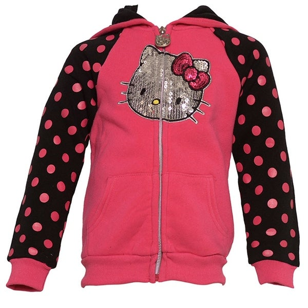 16b48ca85 Shop Hello Kitty Little Girls Fuchsia Dots Glitter Applique Hooded Jacket  2T - Free Shipping On Orders Over $45 - Overstock - 21859538