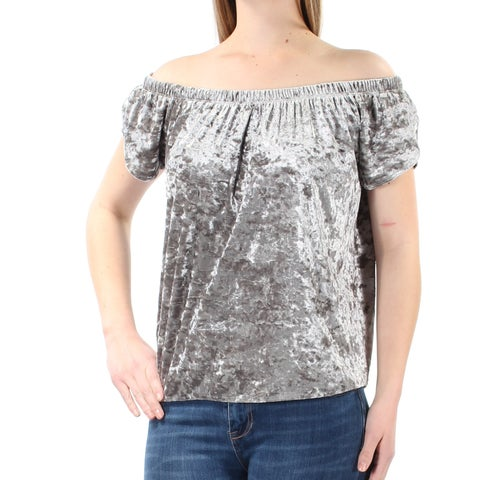 Womens Silver Short Sleeve Off Shoulder Casual Top Size M