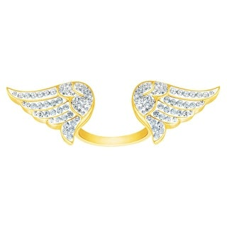 Crystaluxe Angel Wings Ring with Swarovski Crystals in 18K Gold-Plated Sterling Silver