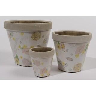 "Set of 3 Tea Garden Earthenware Antique-Style Distressed Floral Outdoor Garden Patio Planters 8"""