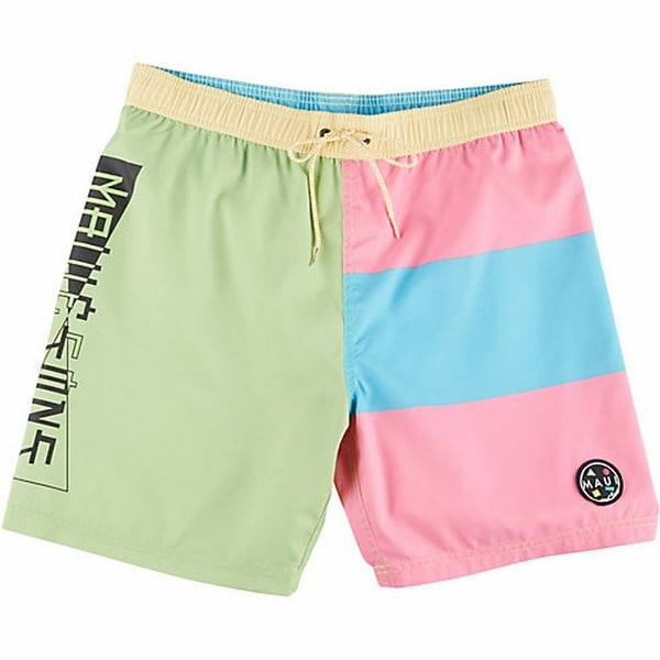 Maui and Sons NEW Green Pink Mens Large L Colorblock Board Pool Shorts
