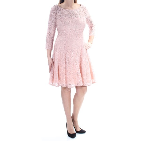 33762c21c8 Shop Womens Pink 3 4 Sleeve Above The Knee Fit + Flare Formal Dress Size   14 - Free Shipping On Orders Over  45 - Overstock - 21329842