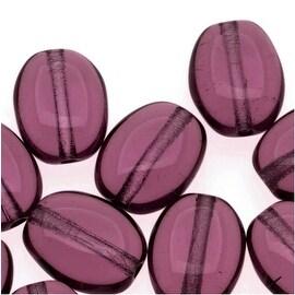 Czech Glass 8 x 6mm Flat Smooth Oval Amethyst Purple (25)