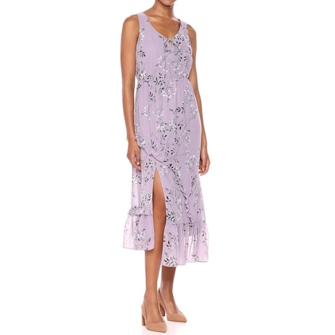 Kensie Womens Midi Dress Purple Multi Size Medium M Floral Tie-Neck