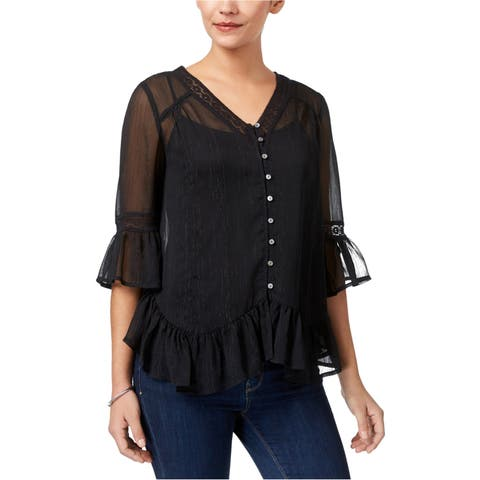 Style&Co. Womens Ruffled Knit Blouse