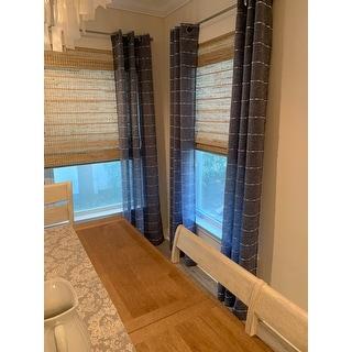 Lush Decor Farmhouse Textured Grommet Sheer Window Curtain Panel Pair