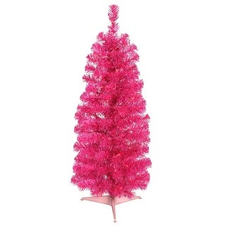 "3' x 19"" Pre-Lit Hot Pink Tinsel Artificial Christmas Tree - Pink Dura-Lit Lights"