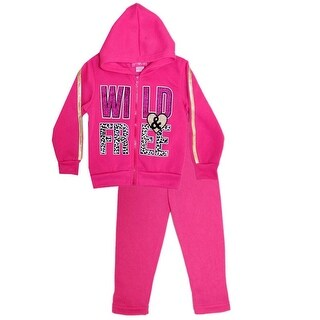 "Little Girls Pink ""Wild & Free"" Applique Hooded Top 2 Pc Pant Outfit"