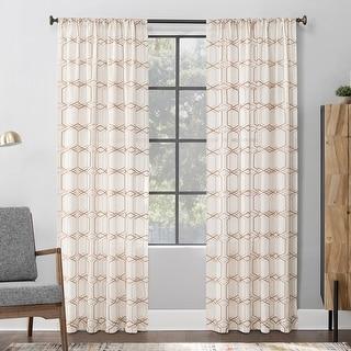 Scott Living Certo Geometric Embroidery Linen Blend Sheer Rod Pocket Curtain Panel