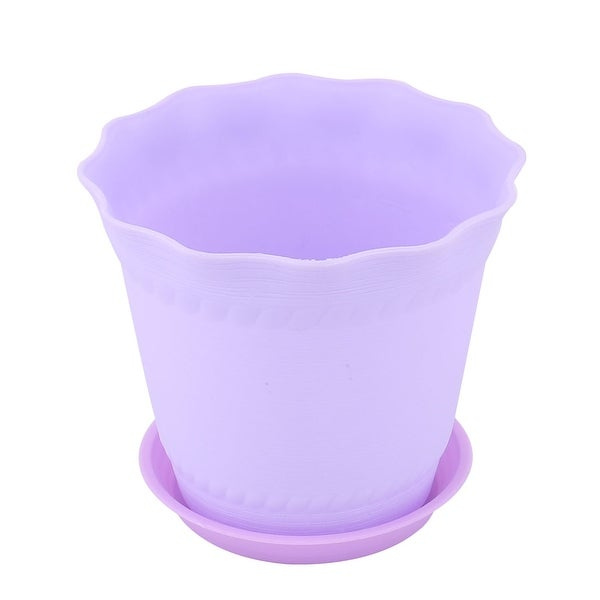 Garden Plastic Table Ornament Plant Container Flower Pot Tray Light Purple