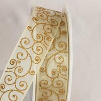 "Decorative Sheer Gold Swirl Wired Craft Ribbon 1.5"" x 27 yards"