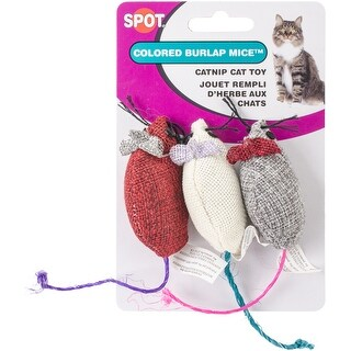 Ethical 3-Inch Burlap Mice Cat Toys in Assorted Colors, 3-Pack