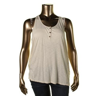 Lucky Brand Womens Mesh Inset High Low Tank Top