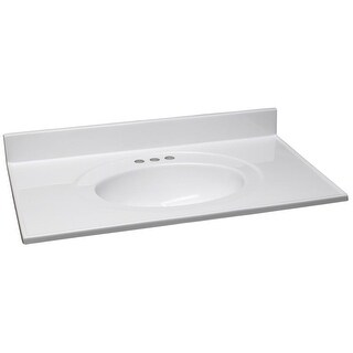 """Design House 552059 49"""" Marble Drop-In Vanity Top with Integrated Sink and 3 Fau - Solid White"""