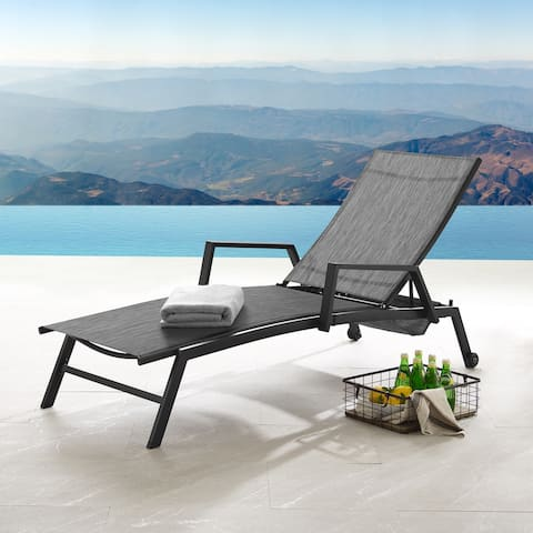 Corvus Sorrento Outdoor Contemporary Sling-Fabric Adjustable Chaise Lounge with Arms