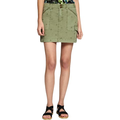 Sanctuary Womens Cargo Skirt Embroiderd Mini