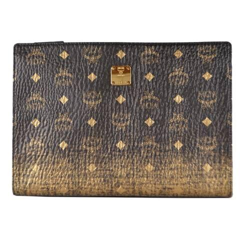 MCM Black Gold Ombre Coated Canvas Visetos Medium Zip Top Purse Clutch Pouch
