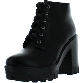 Bamboo Jonas-02 Women Lace Up Chunky Heel Lug Sole Platform Combat Ankle Bootie - black crp