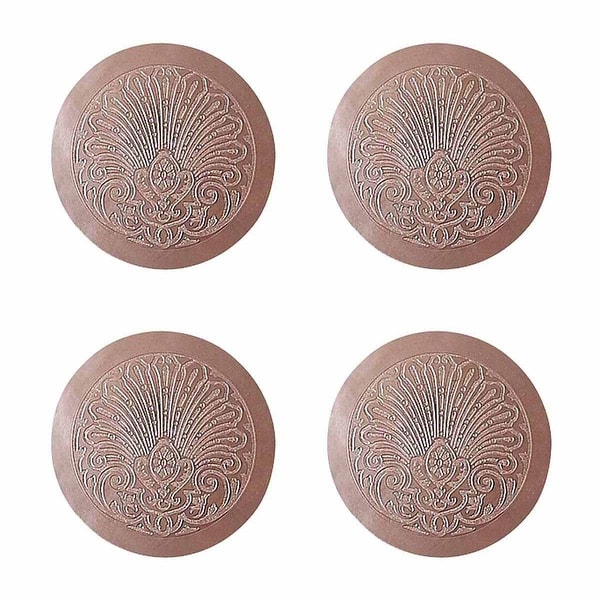 Chair Seats Tan Leather Round 12 Dia Embossed Set of 4 | Renovator's Supply