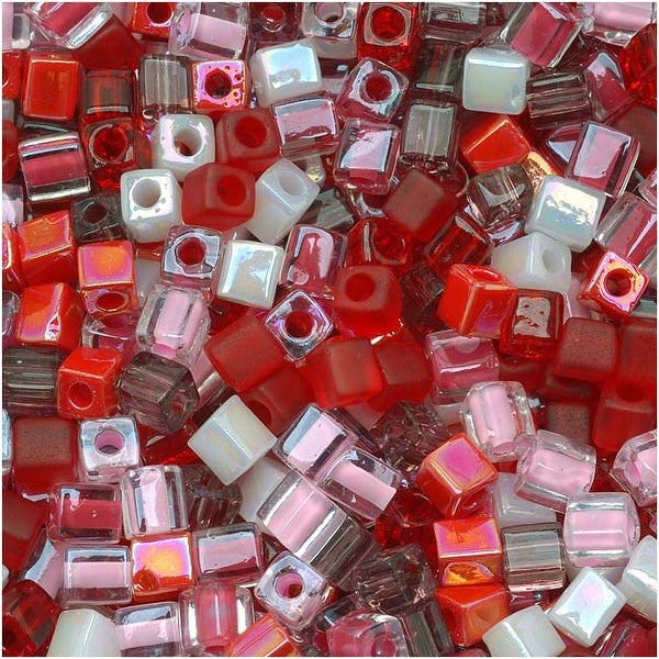 Miyuki 4mm Glass Cube Beads Color Mix Strawberry Fields Pinks Reds 10 Grams