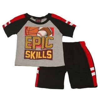 """Mad Game Little Boys Red """"Epic Skills"""" Print Tee Sporty 2 Pc Shorts Set"""