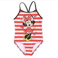 Disney Little Girls Red White Stripe Minnie Mouse One Piece Swimsuit
