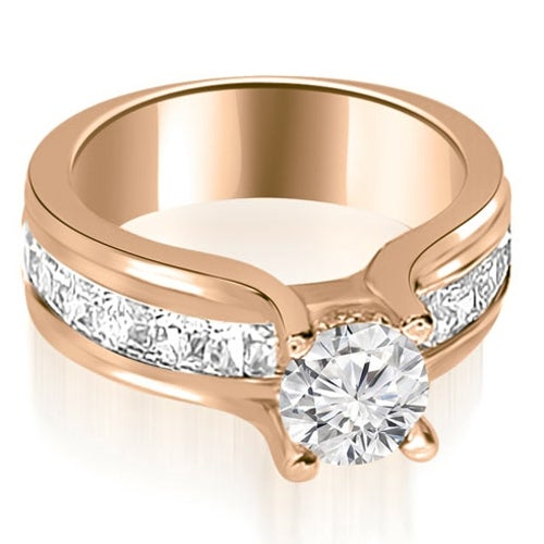1.75 cttw. 14K Rose Gold Channel Round and Princess Diamond Engagement Ring