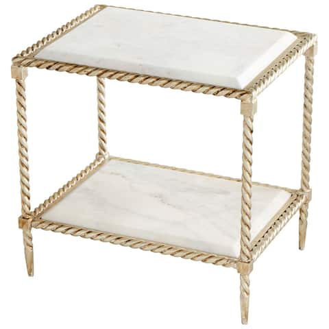 """Cyan Design 10052 Westminster 15"""" Wide Marble Top Iron Side Table - Silver Leaf"""