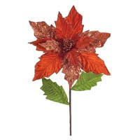 Club Pack of 24 Festive Artificial Red Glittered Poinsettia Stem 25""