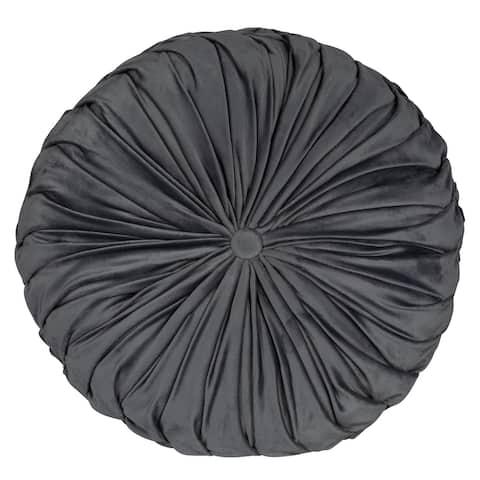 Stratton Home Decor Round Tufted Velvet Grey Pillow