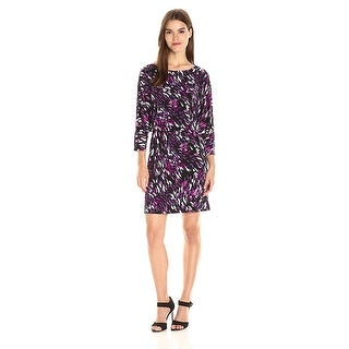 Nine West  Printed Blouson 3/4 Sleeve Dress