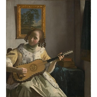 Easy Art Prints Johannes Vermeer's 'Young Woman playing a Guitar' Premium Canvas Art