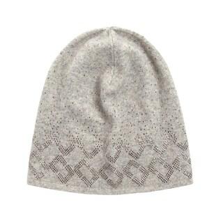 DVF Diane Von Furstenberg Grey Chainlink Embellished Knit Beanie One Size