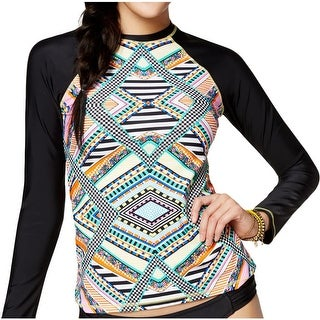 Jessica Simpson Womens Aztec Print Long Sleeves Swim Top Cover-Up - M