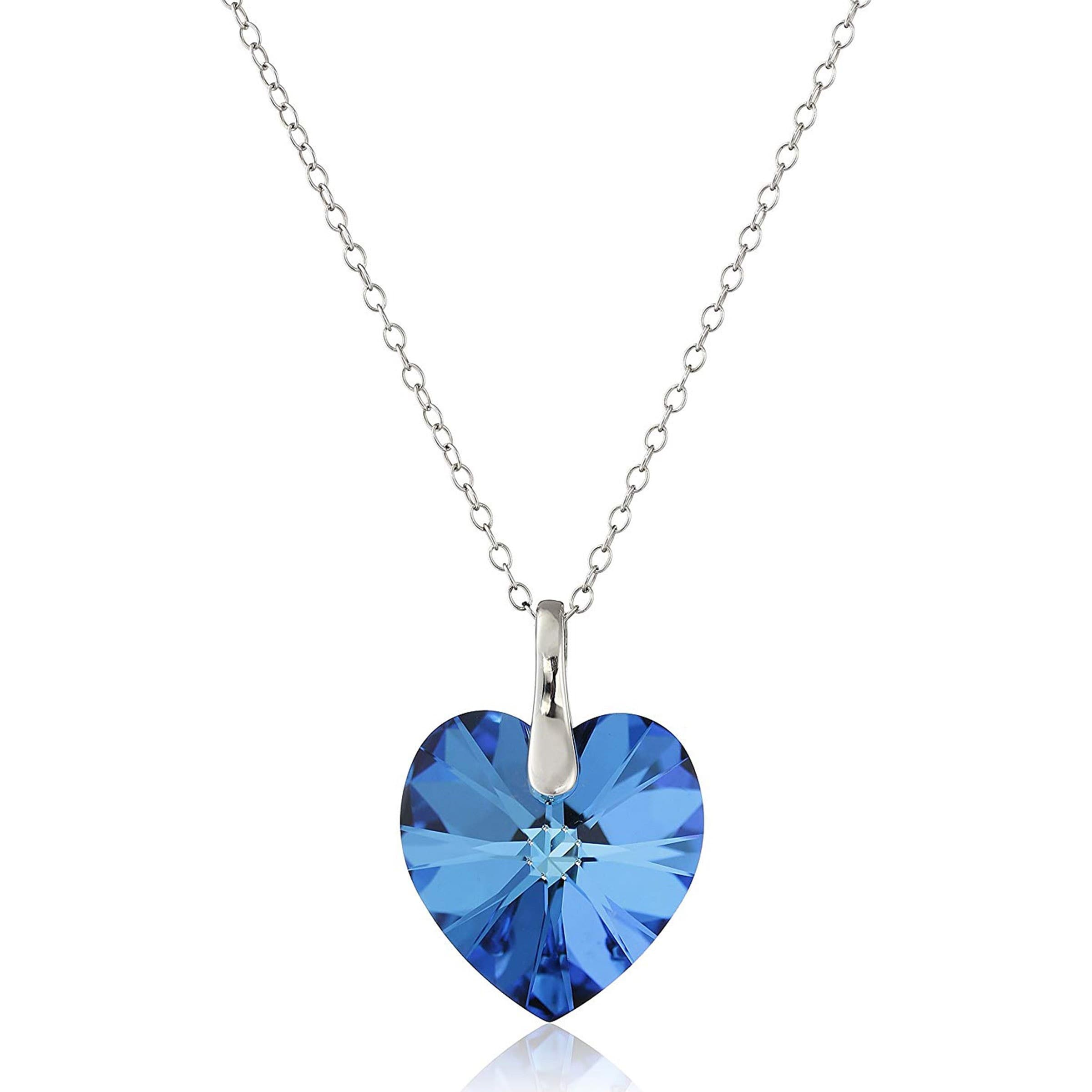 Crystaluxe Heart Pendant with Bermuda Blue Crystal in Sterling Silver