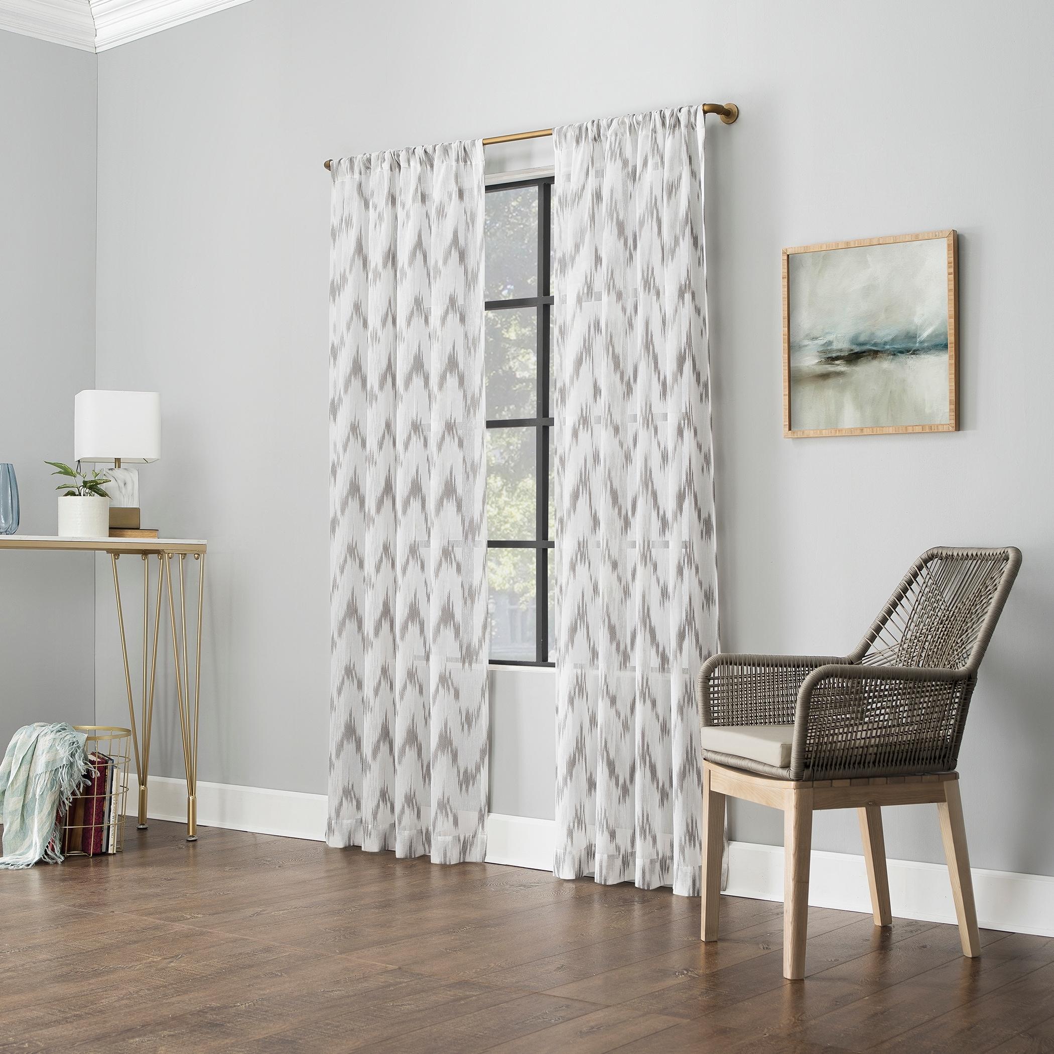 Scott Living Santo Ikat Print Textured Sheer Rod Pocket Curtain Panel Overstock 31283699