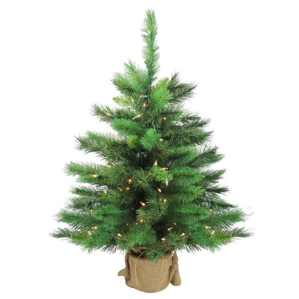 """36"""" New Carolina Spruce Artificial Christmas Tree in Burlap Base - Clear Lights"""