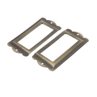 Box Drawer Cabinet Card Tag Label Holders Frames Bronze Tone 85mm x 42mm 2PCS