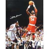 Hakeem Olajuwon Autographed Houston Rockets 16x20 Photo vs Ewing JSA