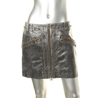 Pam & Gela Womens Leather Studded Mini Skirt - 6